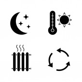 Air conditioning glyph icons set