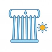 Industrial solar water heater color icon Solar collector tubes and water tank Eco water heating system Isolated vector illustration