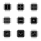 Processors glyph icons set Dual octa quad six core chips CPU sad processor integrated circuit AI microprocessor Silhouette symbols Vector isolated illustration