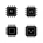 Processors glyph icons set Chip integrated circuit for ai system smiling microprocessor quad core processor Silhouette symbols Vector isolated illustration