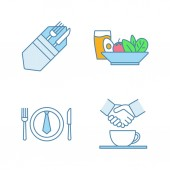 Business lunch color icons set Fork and knife salad and cold drink partnership business dinner Isolated vector illustrations