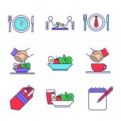 Business lunch color icons set Colleagues friends partners customers meeting Business dinner menu rules etiquette Successful partnership Isolated vector illustrations