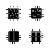 Processors glyph icons set Chip microprocessor integrated unit dual and quad core processors Silhouette symbols Vector isolated illustration