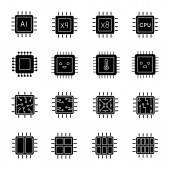 Processors glyph icons set Multi-core processors Chips microchips chipsets CPU Central processing units Integrated circuits Silhouette symbols Vector isolated illustration