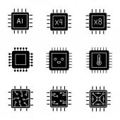 Processors glyph icons set AI chip quad octa core processors integrated circuit microprocessor temperature smiling chip Silhouette symbols Vector isolated illustration