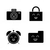 Smiling items glyph icons set Characters Happy camera padlock alarm clock folder Silhouette symbols Vector isolated illustration