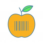 Product barcode color icon Apple with linear bar code Retail merchandise Grocery store Barcodes identification Isolated vector illustration