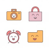 Smiling items color icons set Characters Happy camera padlock alarm clock folder Isolated vector illustrations