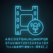 Audio recording neon light icon Audio tape cassette Sound recording Voice acting Filmstrip and microphone Glowing sign with alphabet numbers and symbols Vector isolated illustration