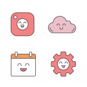 Smiling items color icons set Characters Happy camera cloud calendar cogwheel Isolated vector illustrations