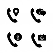 Phone services glyph icons set Call tracking conversation infocenter doctor appointment Silhouette symbols Vector isolated illustration