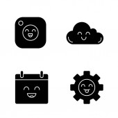 Smiling items glyph icons set Characters Happy camera cloud calendar cogwheel Silhouette symbols Vector isolated illustration