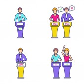 Quiz show color icons set Intellectual game winner loser buzzer systems players Isolated vector illustrations