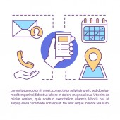 Contact us concept linear illustration vector icons set