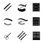 Eyelash extension glyph icons set