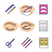 Eyelash extension color icons set Tweezers disposable eyeshadow pads closed woman's eye mascara wands scissors eyelash extension packaging Isolated vector illustrations