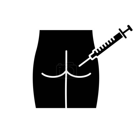 Intramuscular injection glyph icon. Silhouette symbol. Gluteal, buttock injecting. Medical glute shot. Disease treatment, prevention. Negative space. Vector isolated illustration