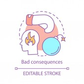 Bad consequences concept icon Anger idea thin line illustration Violent act Frustration annoy behavior Disorder out-of-control emotion Vector isolated outline drawing Editable stroke