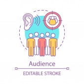 Audience concept icon Listening Group of people Target audience Community society Public speaking idea thin line illustration Communication skills Vector isolated drawing Editable stroke