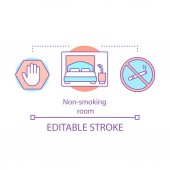 Non-smoking room concept icon Hotel room amenity Smoke free property Double bed no cigarette space Smoking bans prohibition idea thin line illustration Vector isolated drawing Editable stroke