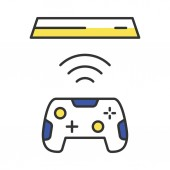 Wireless gaming controller color icon Esport accessory Video game device Cordless joystick Isolated vector illustration