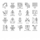 RPA linear icons set Robotic process automation Clerical process automation Software robots Automate workflows Thin line contour symbols Isolated vector outline illustrations Editable stroke