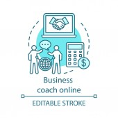 Business coach online concept icon
