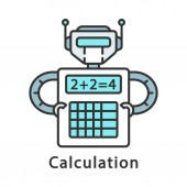 Calculation color icon Complex math calculations Robot holding calculator Robotic process automation Isolated vector illustration