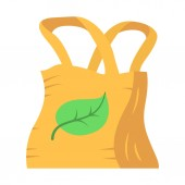 Eco bag flat design long shadow color icon