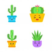 Cactuses flat design long shadow color icons set