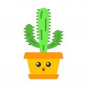 Elephant cactus flat design long shadow color icon