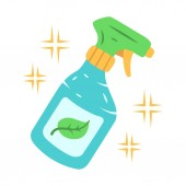 Eco cleaning products flat design long shadow color icon