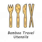 Bamboo travel utensils color icon