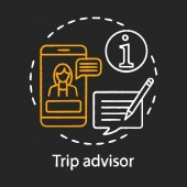 Trip advisor chalk concept icon