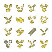 Pasta noodles color icons set
