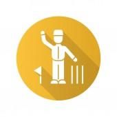 Cricket judge flat design long shadow glyph icon Umpire signals decision Arbitrator follow game Man in uniform flag and wicket Sport competition tournament Vector silhouette illustration