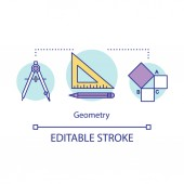 Geometry lessons studies courses concept icon Geometrical tools triangle ruler mathematical problem idea thin line illustration Vector isolated outline drawing Editable stroke