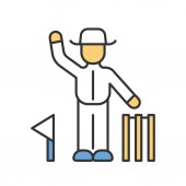 Cricket judge color icon Umpire signals decision Arbitrator follow game Man in white uniform flag and wicket Sport competition tournament Outdoor sports activity Isolated vector illustration