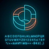 Three-dimensional diagram neon light icon 3-space ring Symbolic representation of info Statistics data visualization Glowing sign with alphabet numbers and symbols Vector isolated illustration