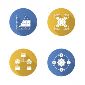 Diagram concepts flat design long shadow glyph icons set Decision explanatory phase process charts Statistics data and process flow visualization Vector silhouette illustration