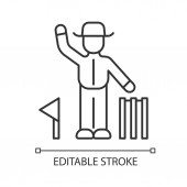 Cricket judge linear icon Umpire signals decision Arbitrator follow game Man in uniform flag and wicket Thin line illustration Contour symbol Vector isolated outline drawing Editable stroke