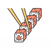 Sushi set with chopsticks color icon Traditional japanese food seafood Asian cuisine Restaurant cafe menu Spring rolls rolled appetizers Isolated vector illustration