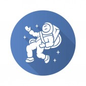 Astronaut flat design long shadow glyph icon Spaceman Space explorer Cosmonaut in outer space Man in space suit Cosmic mission Travel adventure exploration Vector silhouette illustration