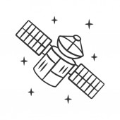 Satellite linear icon Sputnik Artificial object in orbit Space probe Space telescope GPS navigation Thin line illustration Contour symbol Vector isolated outline drawing Editable stroke