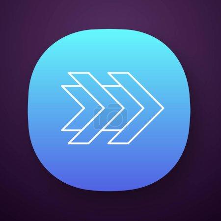 Double arrows app icon. Fast forward right arrowhe...