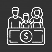Family sponsorship immigration chalk icon Migration program Express entry Family trip vacation Permanent residents Travelling abroad Isolated vector chalkboard illustration
