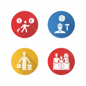 Immigrants flat design long shadow glyph icons set Economic migrant family sponsorship immigration Job for immigrants Emigrants refugees Travelling abroad Vector silhouette illustration
