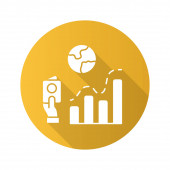 Immigration rate yellow flat design long shadow glyph icon Business analysis analytical research Data representation International migration Analyzing infographics Vector silhouette illustration