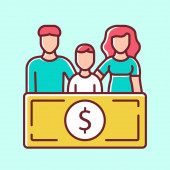 Family sponsorship immigration blue color icon Migration program Express entry Family trip vacation Permanent residents Travelling abroad Isolated vector illustration