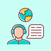 Immigration consultant blue color icon Online support hotline operator Office help desk worker dispatcher Travel agent Call center manager Trip advisor Isolated vector illustration